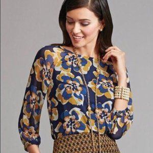 Cabi Lydia Blouse XS Blue Yellow Floral Style 3426